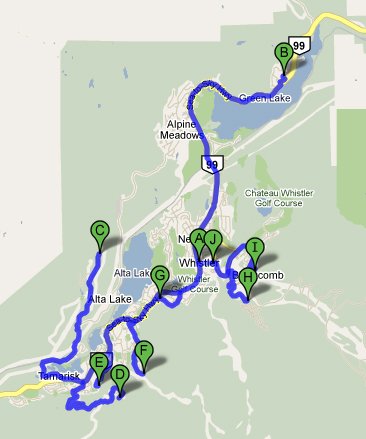 Tour de Whistler Road Cycling Map