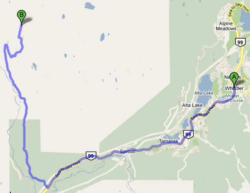 Whistler to Olympic Park Road Cycle Map