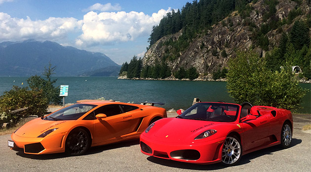 Rest stop at Porteau Cove for Luxury Supercars