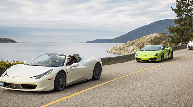 Passengers on the roll in a supercar in British Columbia