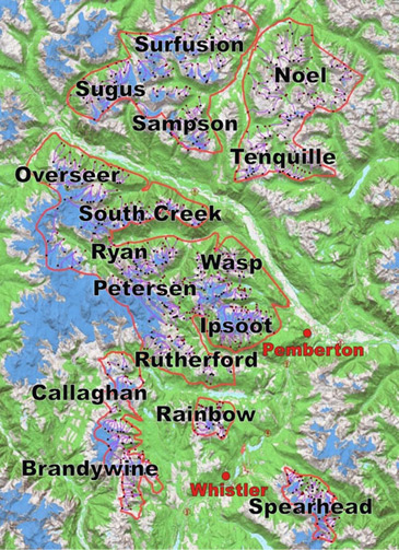 Whistler Heli Ski Area Map