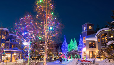 Twinkling lights in Whistler Village