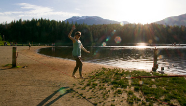 Slacklining at Lost Lake