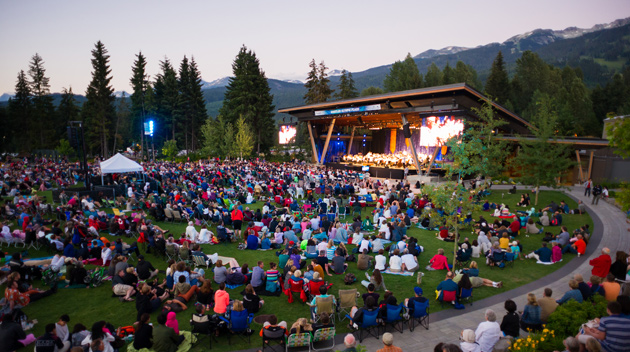 People gathered for an evening concert