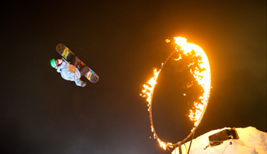 Jumping through fire at Whistler Fire and Ice Show