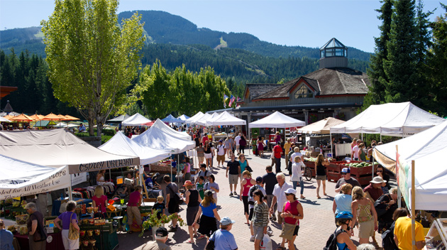 People milling about Whistler's Famers' Market on a sunny day