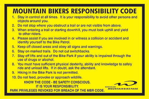 Whistler Blackcomb Bike Responsibility Code