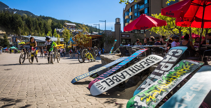 May in Whistler Village with Multiple Sports